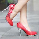 2df76004e2 Sapato Salto Alto Glitter Flor de Cristal